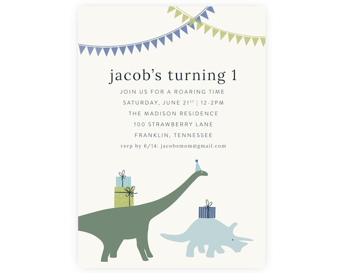 Dinosaur Party Invitation | First Birthday, Birthday Invitation, Dinosaur Party, Printable Template, Dinosaur Birthday, 1st Birthday