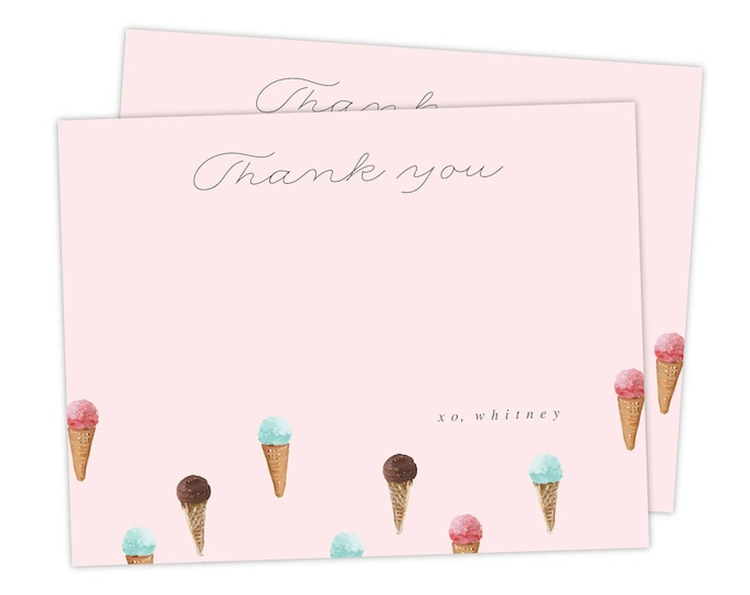 Ice Cream Thank You Card | Ice Cream Social, Instant Download, Printable, Ice Cream Party, Birthday Party, Ice Cream Parlor, PDF Template