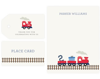 Train Party Thank You Notes and Gift Tag   Train Party, Train Birthday Party, Instant Download