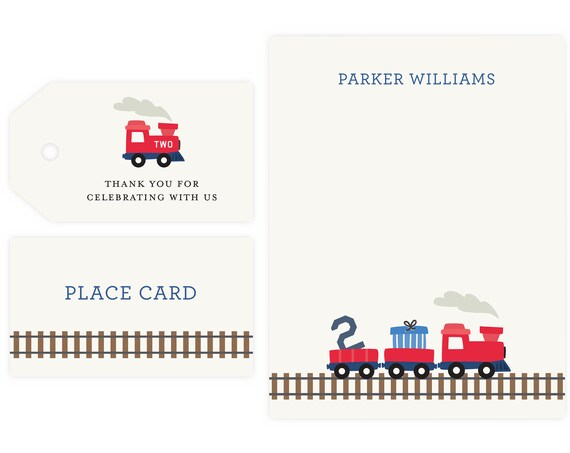 Train Party Thank You Notes and Gift Tag | Train Party, Train Birthday Party, Instant Download