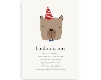 Bear Birthday Invitation — Bear First Birthday, Bear 1st Birthday, Instant Download, Edit Now!