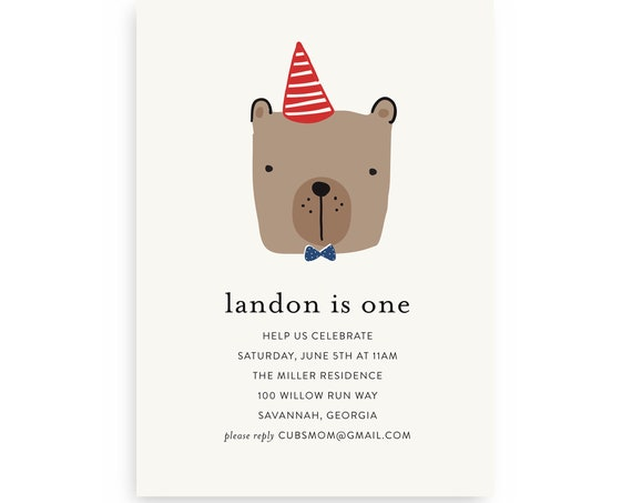 Bear Birthday Invitation — Bear First Birthday, Bear 1st Birthday, Instant Download, Edit Now!