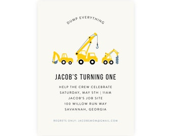 Construction Party Invitation — Construction Birthday Invitation — Construction Invitation —  First Birthday, 1st Birthday, Edit Now!
