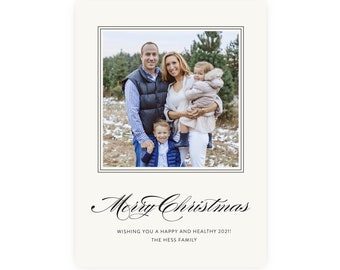 Christmas Photo Card   Printable Template, Preppy Christmas, Holiday Photo Card, Instant Download