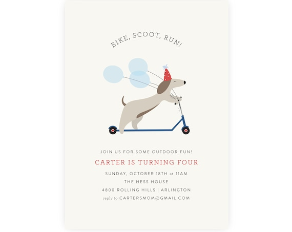 Bike, Scoot, Run Birthday Invitation