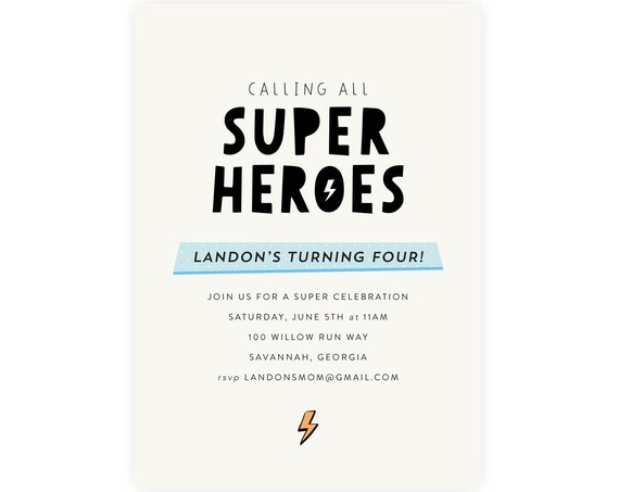 Superhero Birthday Invitation | Superhero Invitation, Superhero Template, Modern Superhero Instant Download, Edit Now in Templett