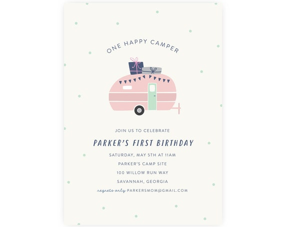 One Happy Camper First Birthday Invitation Printable