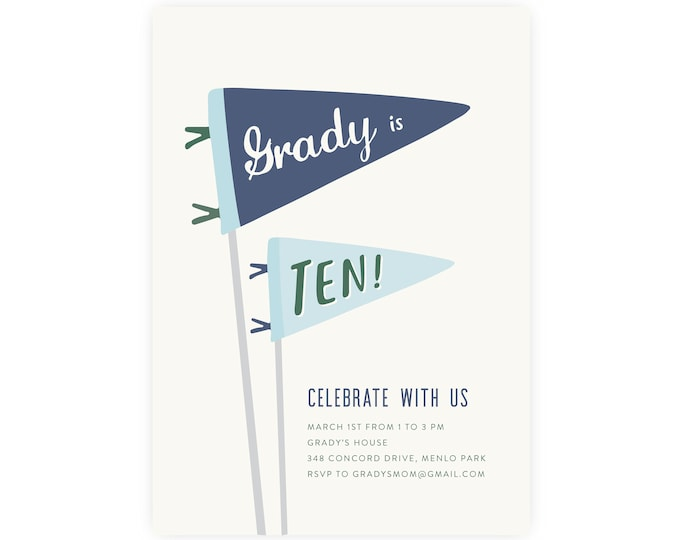 Boy's 10th Birthday Invitation, Tenth Birthday Invitation, Printable Birthday Invitation