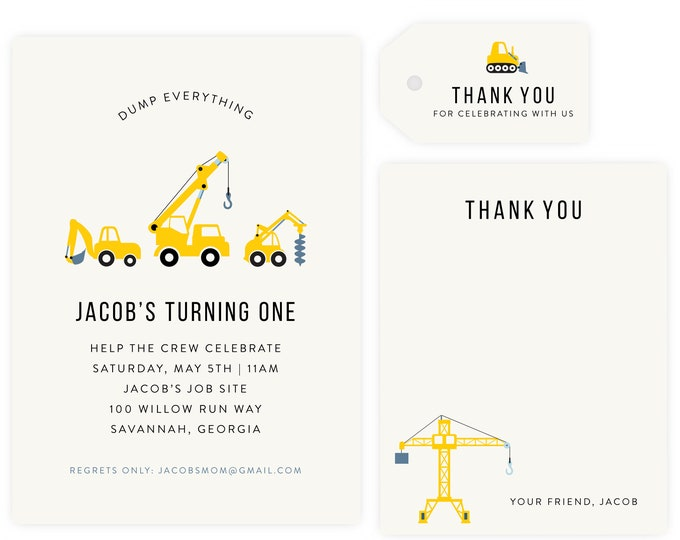 Under Construction First Birthday Party Invitation, Construction Party, Digger Birthday, Tractor Thank You + Gift Tags, Instant Download