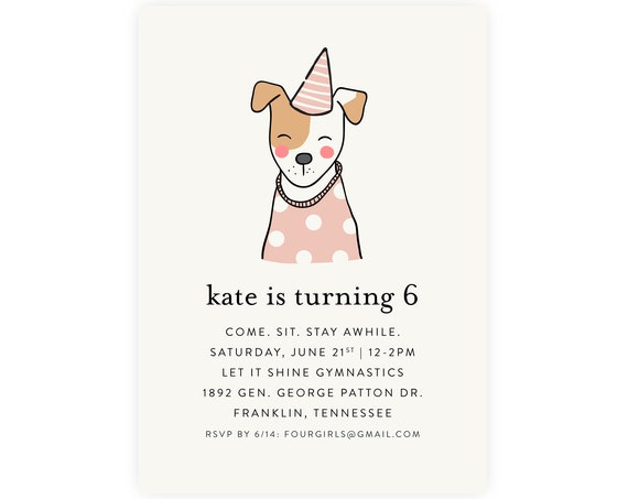 Puppy Party Invitation w/ Picture, Puppy Birthday Invitation, Puppy Birthday Party, Instant Download, Dog Birthday Party, Printable Template