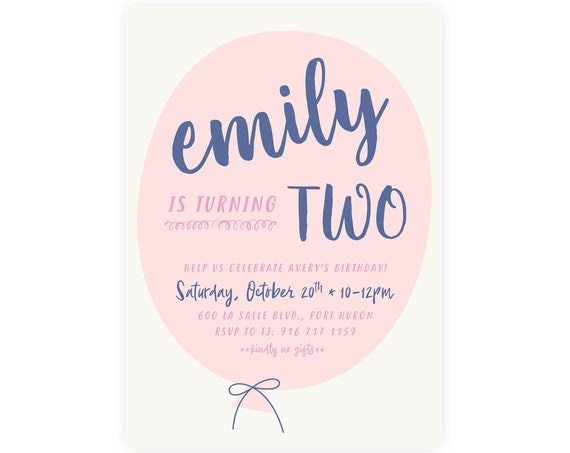 1st Birthday Invitation | Balloon Invitation, First Birthday Party, Printable Invitation, Printable Template