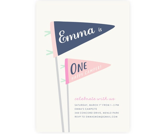 Girl's One Happy Camper Birthday Invitation | First Birthday, 1st Birthday, Professionally Printed or Customized Digital File