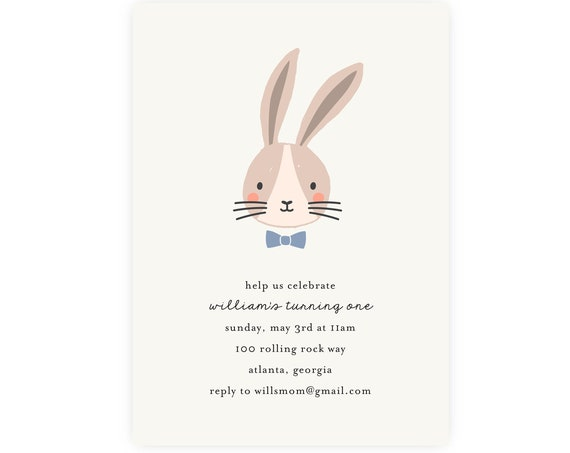 Bunny Invitation — Bunny Birthday Invitation, Easter Bunny, Easter Egg Hunt, Easter Brunch, First Birthday, 1st Birthday, Edit Now!