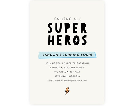 Superhero Birthday Invitation | Superhero Invitation, Superhero Template, Modern Superhero Instant Download, Edit Now in Templett