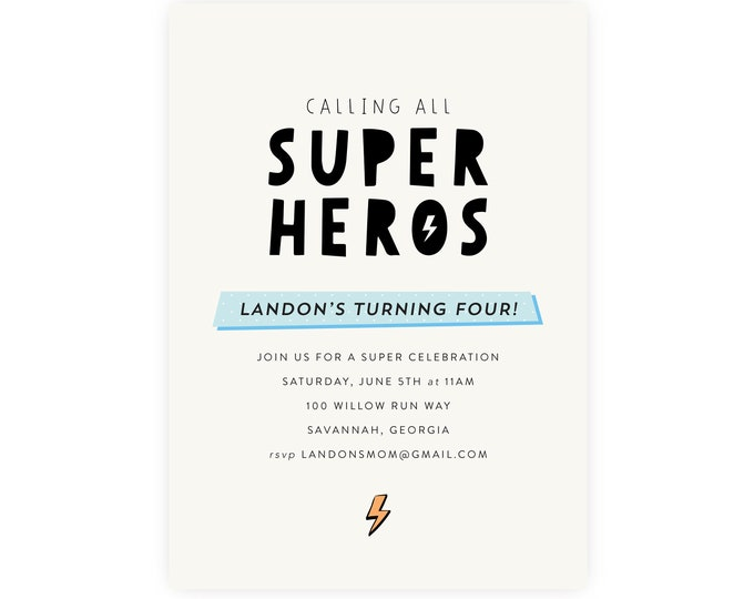 Superhero Birthday Invitation | Superhero Invitation, Superhero Template, Instant Download, Edit Now in Templett