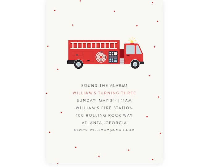 Fire Truck Birthday Invitation | Fire Station Birthday Printable DIY, Edit and Print Now