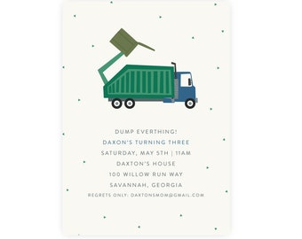 Trash Bash Birthday Invitation   Garbage Truck Birthday Printable DIY, Edit and Print Now
