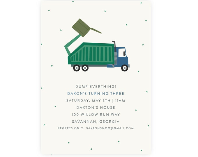 Trash Bash Birthday Invitation | Garbage Truck Birthday Printable DIY, Edit and Print Now