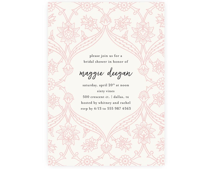 Floral Blush Wallpaper Bridal Shower Luncheon Invitation | Customized and Professionally Printed or Digitally