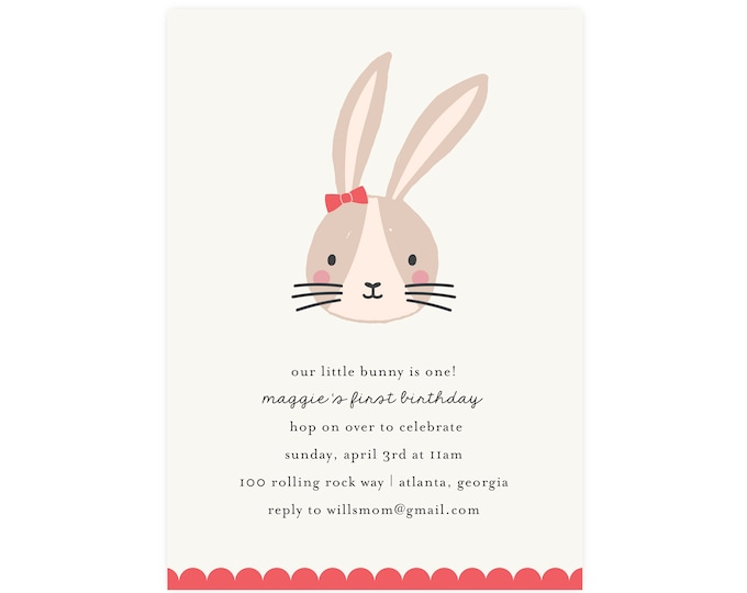 Little Bunny Invitation — Bunny Birthday, Bunny Party, Easter Bunny, Easter Egg Hunt, Easter Brunch, First Birthday, 1st Birthday, Edit Now!