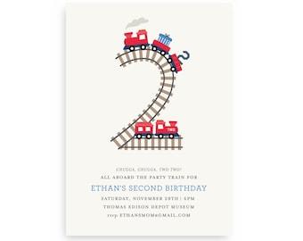 Chugga Chugga Two Two Birthday Invitation   Train Invitations   Instant Download   Printable