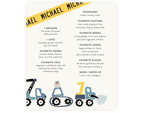 Construction Milestone Poster with Diggers and Dump Trucks, Construciton Birthday Party, Instant Download Construction Milestone Poster