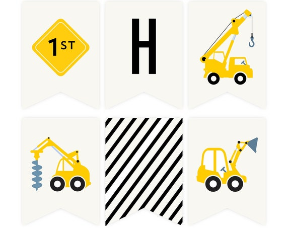 Birthday Construction Banner with Diggers and Dump Trucks, Truck Party, Instant Download, Construction Birthday Bunting, 1st Birthday