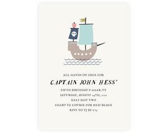 Pirate Invitation — Pirate Birthday Invitation — Pirate Theme — First Birthday, 1st Birthday, Edit Now!