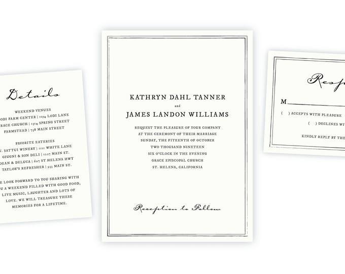 Classic Wedding Invitation   Instant Download, Wedding Template, DIY Wedding, Wedding Invitation Template, Wedding Printable, Wedding Invite