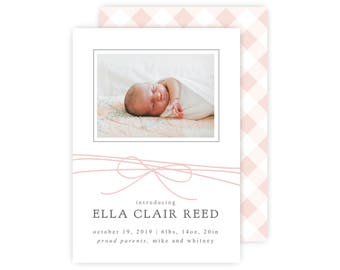 Gingham Baby Birth Announcement Template, Baby Girl Announcement, Newborn Photo Card, Instant Download, PDF Printable Template, Pink Gingham