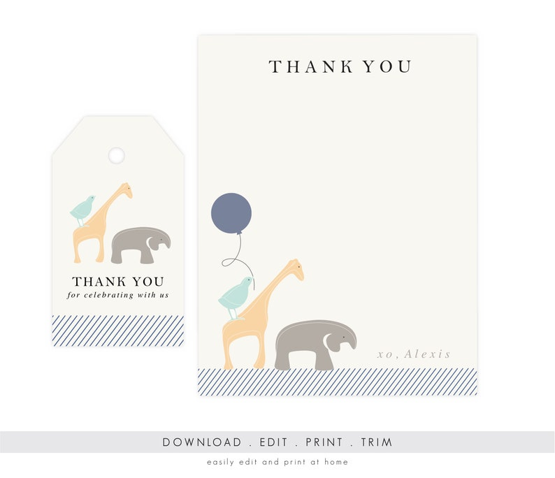 Baby Shower Thank You Cards Elephant  Baby Shower Thank You image 0