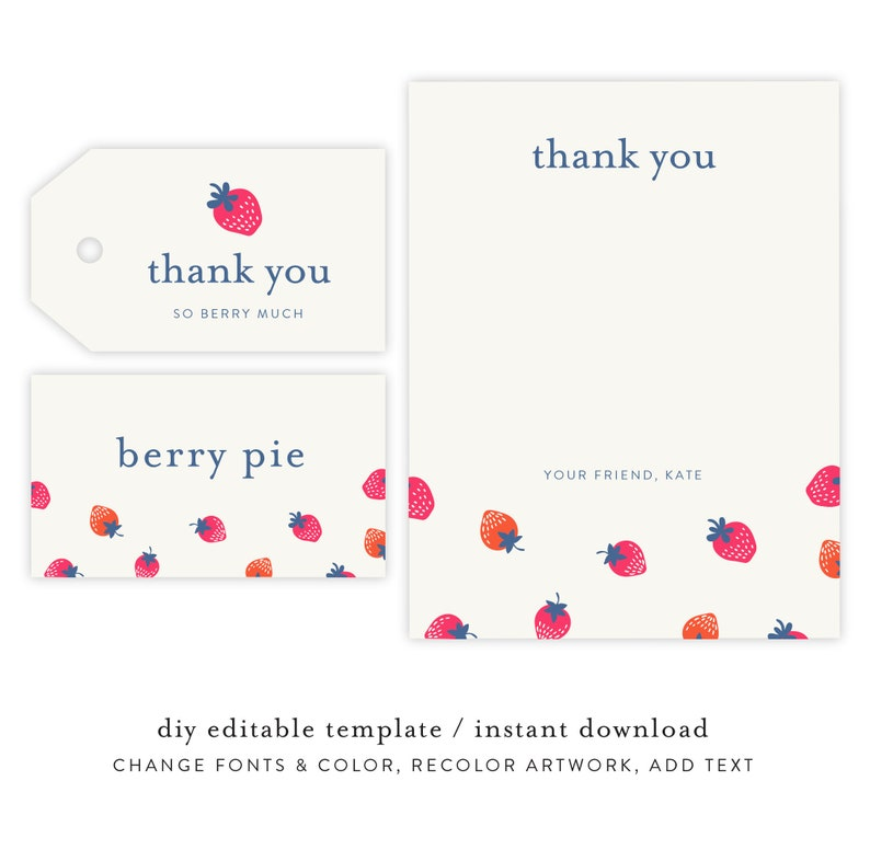 Strawberry Thank You Notes Gift Tag and Place Holder  image 0