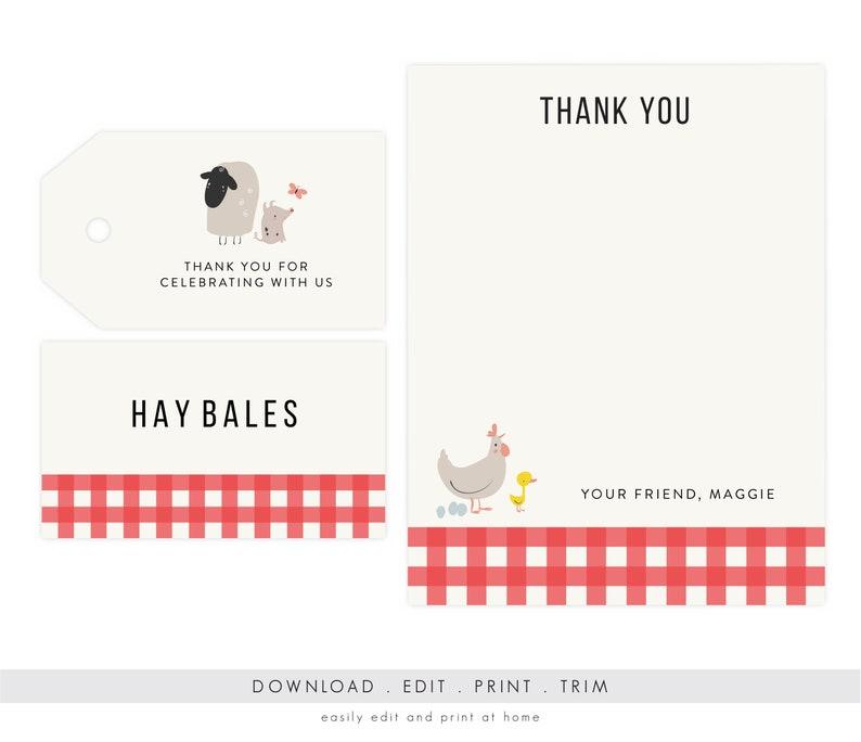 Barnyard Party Thank You and Favor Tags  Farm Party Banyard image 0