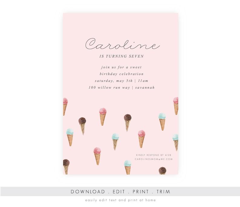 Ice Cream Social Birthday Invitation w/ Photo  Ice Cream image 0