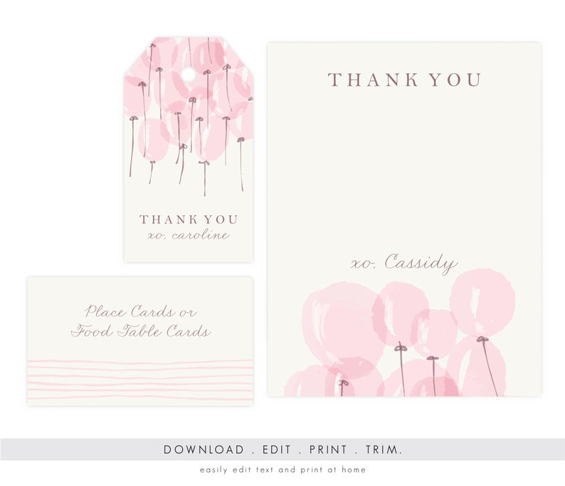 Girl Baby Shower Thank You Card Baby Shower Gift Tags Baby Etsy