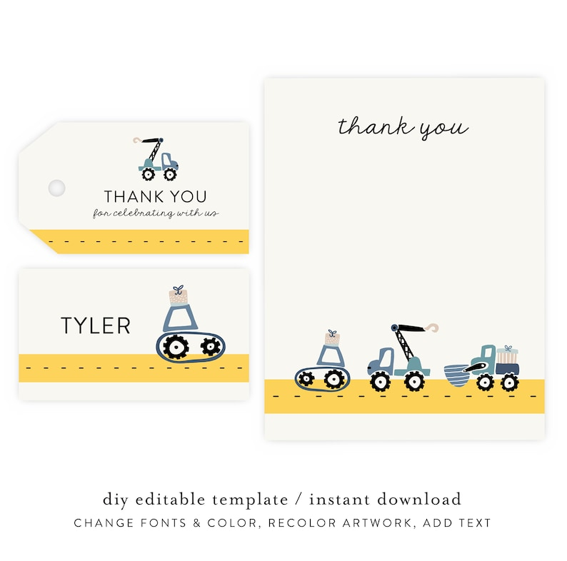 Construction Party Thank You Notes and Gift Tag  Dump Truck image 0