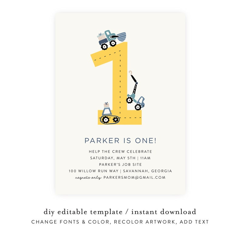 1st Birthday Construction Invitation Instant Download First image 0