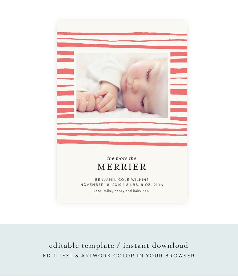 Christmas Birth Announcement  Printable Template Baby image 0