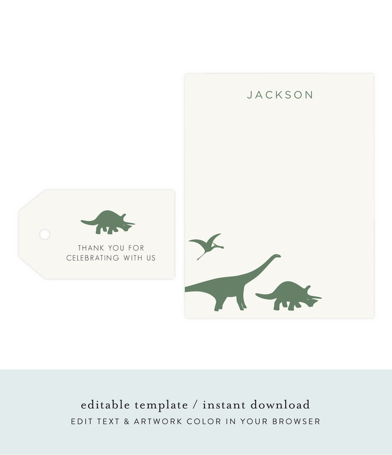 Dinosaur Thank You Cards  Dino Gift Tags Dinosaur Gift Tags image 0