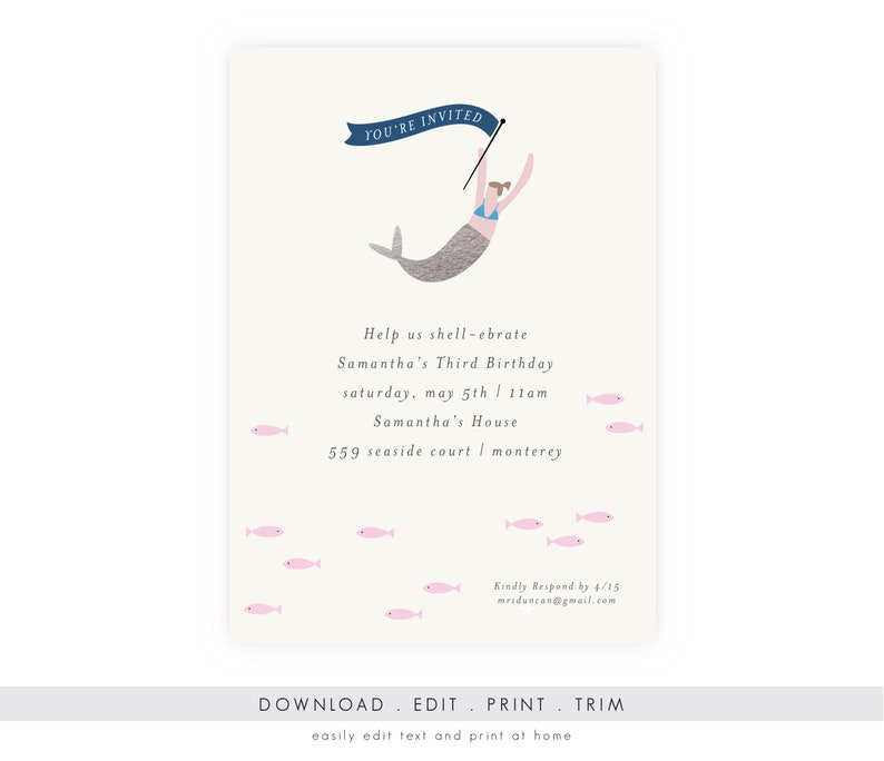Under the Sea Birthday Invitation  Mermaid Invitation image 0