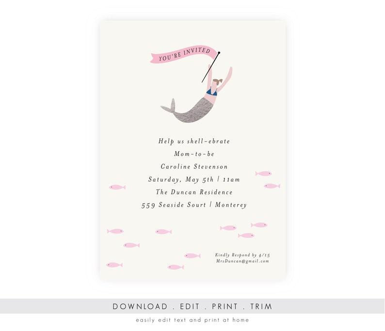Mermaid Baby Shower Invitation  Mermaid Invitation Editable image 0
