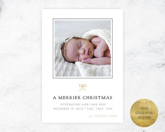 Merrier Christmas Birth Announcement | DIY Christmas Birth Announcement, Gold Foil Baby Girl Announcement, Instant Download, Christmas Baby