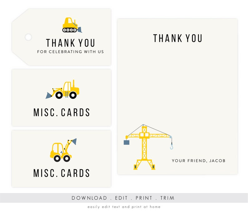 Construction Party Thank You and Gift Tags  Dump Truck image 0