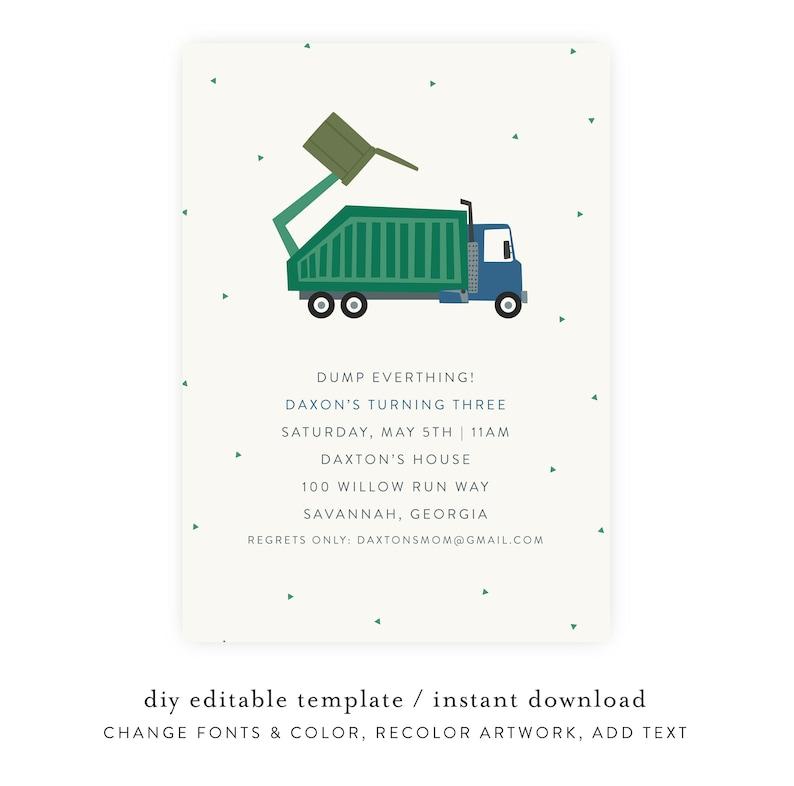 Trash Bash Birthday Invitation  Garbage Truck Birthday image 0