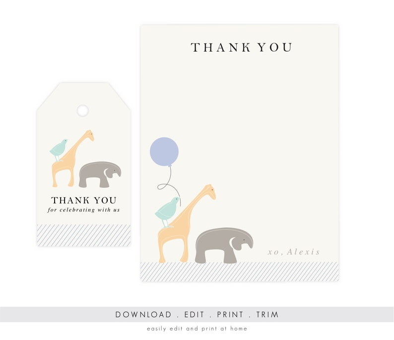 Gender Neutral Animal Thank You Cards  Baby Shower Thank You image 0