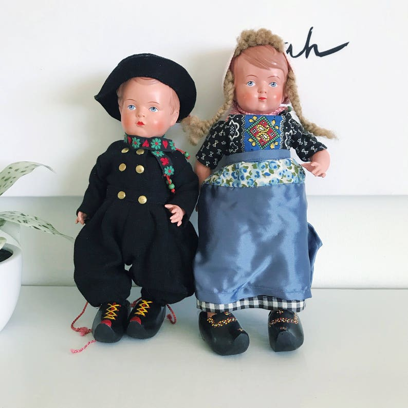 Vintage Antique Celluloid Dutch Dolls Boy and Girl Set Real image 0