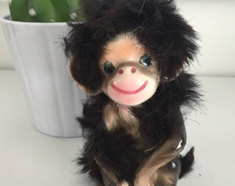 Vintage California Creations Bradley Ceramic Monkey with Real Fur Figurine