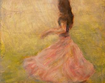 She Dances with the Rain, Fine Art Print of Original Impressionist Oil Painting