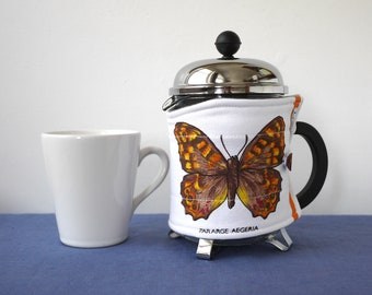 Butterflies French press cosy, midi size 17oz, cotton fabric cafetiere wrap, 4 cup