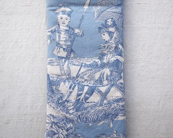 Blue Toile de Jouy glasses case, children playing on the beach, sunglasses pouch